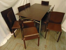 Brera extending dining table with one drop in leaf and eight brown leather dining chairs, table 74 x