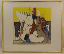 A framed and glazed limited edition polychromatic Surrealist screen-print 6/120, indistinctly signed