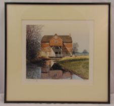Paul Bisson framed and glazed coloured etchings of Shalford Mill, details to verso, 26 x 30.5cm
