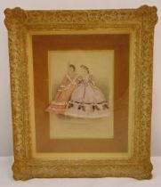 A framed and glazed French fashion display of two ladies in silk dresses, 45 x 38.5cm