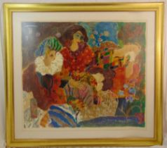 A framed and glazed limited edition print of figures in an interior scene, signed bottom right, 84 x