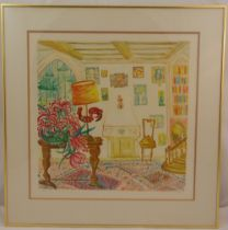 Rene Halpern framed and glazed limited edition polychromatic lithographic print of an interior