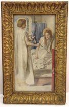 Dante Gabriel Rossetti framed and glazed polychromatic print, The Annunciation monogrammed bottom