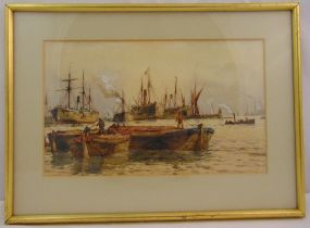 Richard Henry Nibbs framed and glazed watercolour titled The Thames Basin, signed and dated bottom