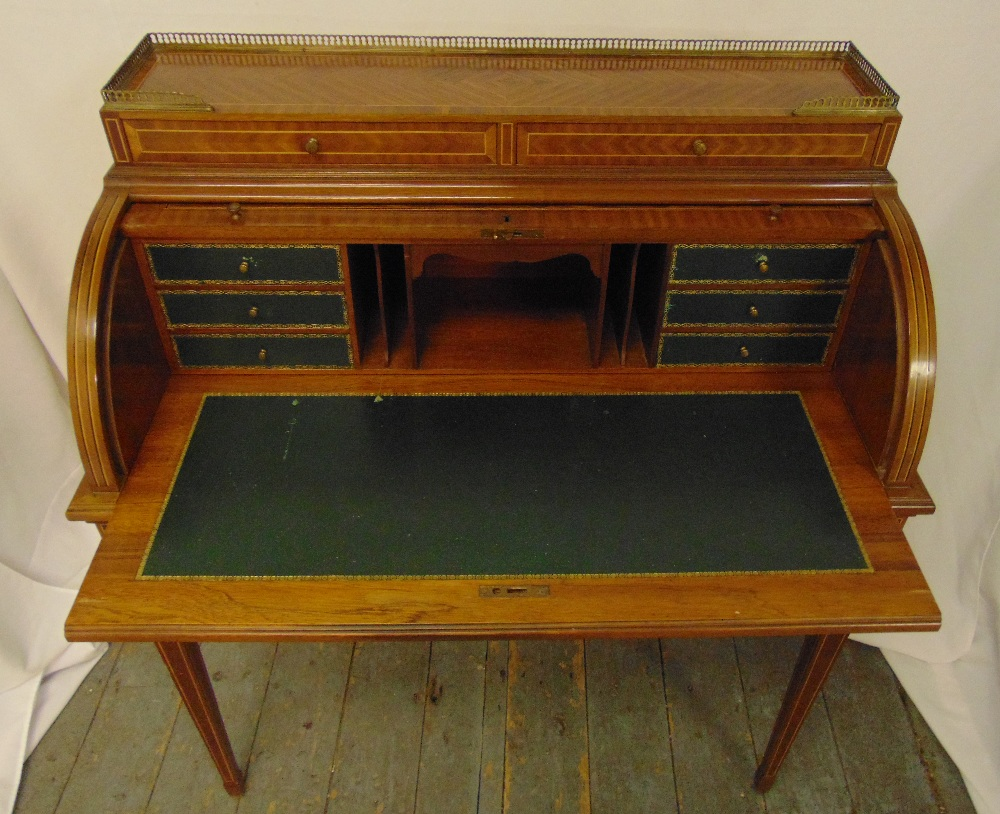 A continental roll top Kingswood and mahogany desk, the cover revealing leather mounted interior - Image 2 of 2