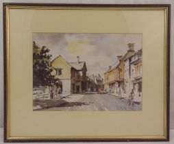 Michael Aubrey framed and glazed watercolour of houses and figures on a roadside, signed bottom