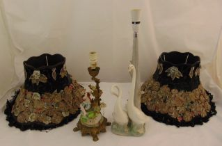 A pair of porcelain table lamps with detachable decorative shades, tallest 57cm (h)