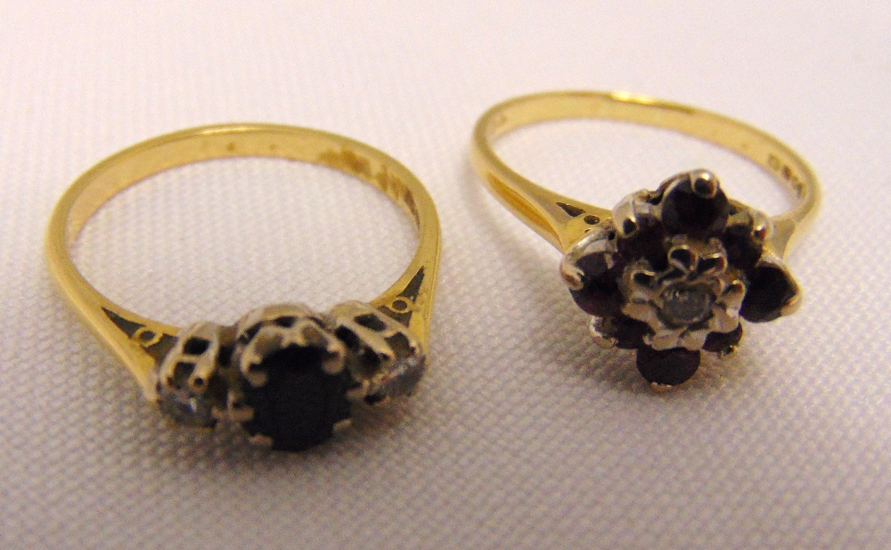 Two 18ct gold rings set with various stones, approx total weight 5.9g