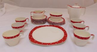 Midwinter Red Domino 1950s Stylecraft coffee set to include a coffee pot, a milk jug, a sugar