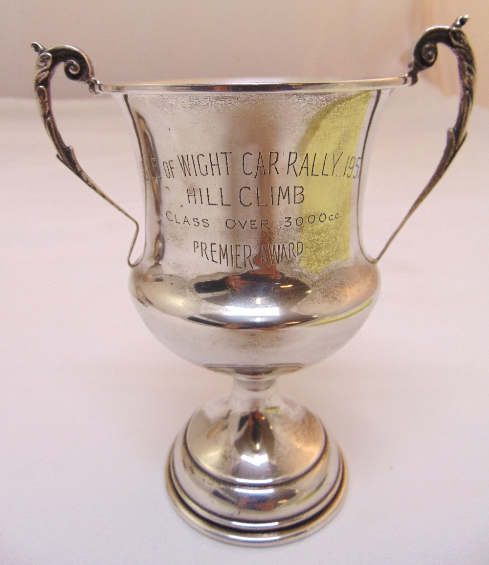 A Victorian hallmarked silver rose bowl engraved Isle of Wight Car Rally 1951 part fluted, London - Image 3 of 3