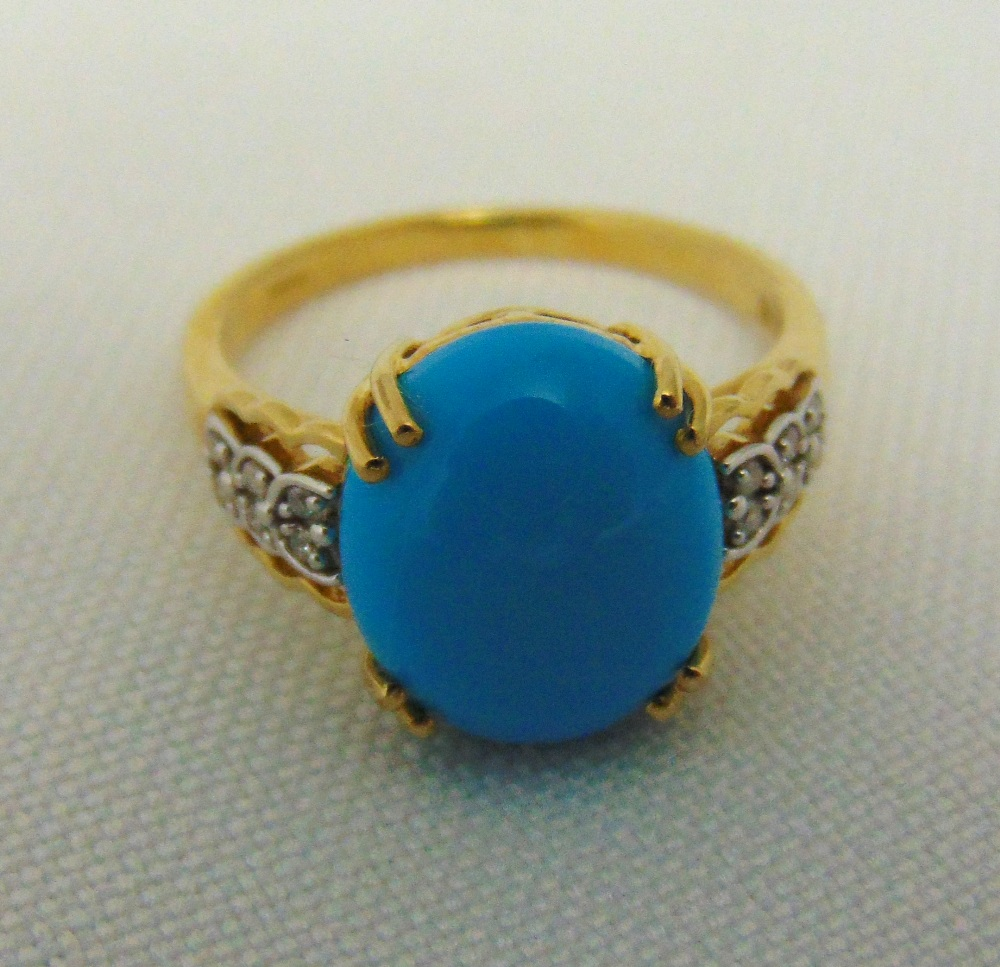 9ct yellow gold turquoise dress ring, approx total weight 3.1g