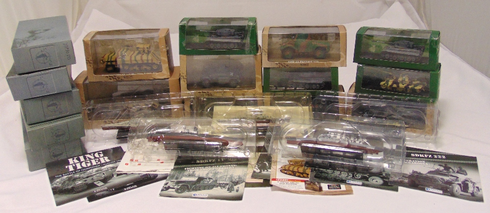 A quantity of military models to include tanks, cars and boats all in original packaging (16)