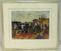 Bob Dylan framed and glazed polychromatic limited edition print titled Wagon Master from the