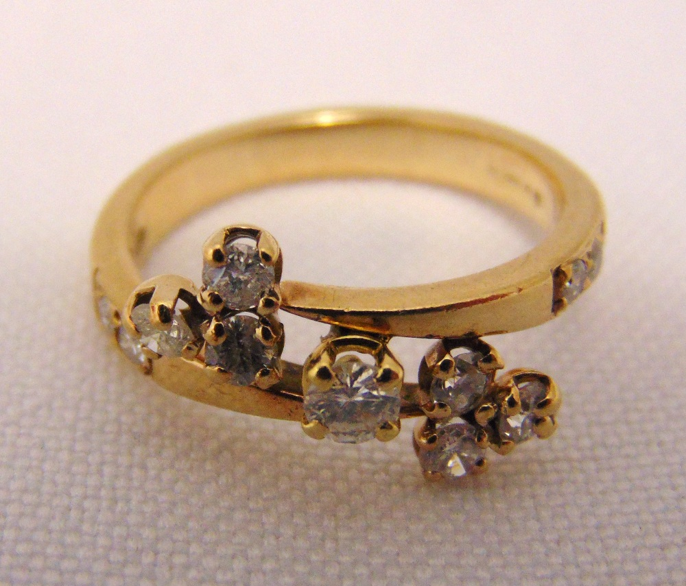9ct yellow gold and diamond crossover ring, approx total weight 2.9g