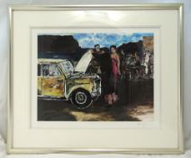 Bob Dylan framed and glazed polychromatic limited edition print titled Grande Arvore Beachfront from