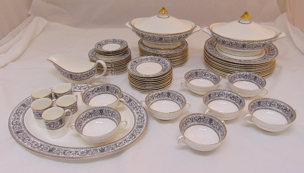 Royal Doulton Baronet H4999 dinner and coffee set to include plates, bowls, covered dishes, a meat