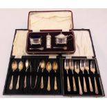 A quantity of hallmarked silver to include cased condiments, cased pastry forks and cased teaspoons