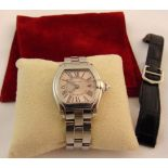Cartier Roadster ladies stainless steel wristwatch on a stainless steel bracelet, to include