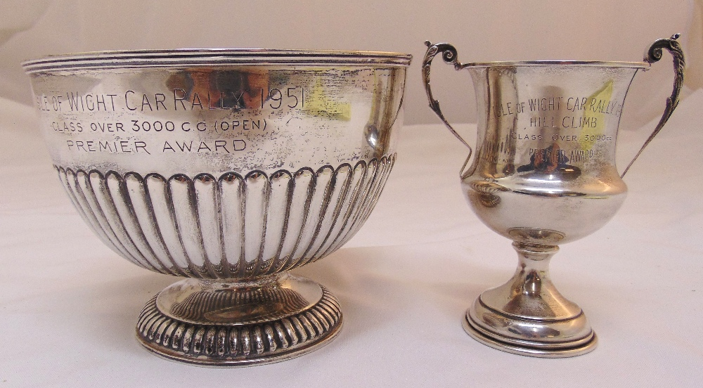A Victorian hallmarked silver rose bowl engraved Isle of Wight Car Rally 1951 part fluted, London