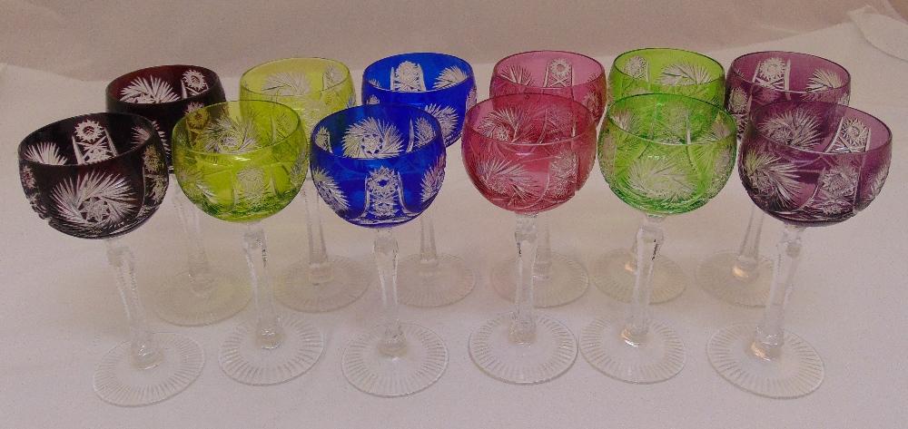 A set of twelve coloured hock glasses, 19cm (h)