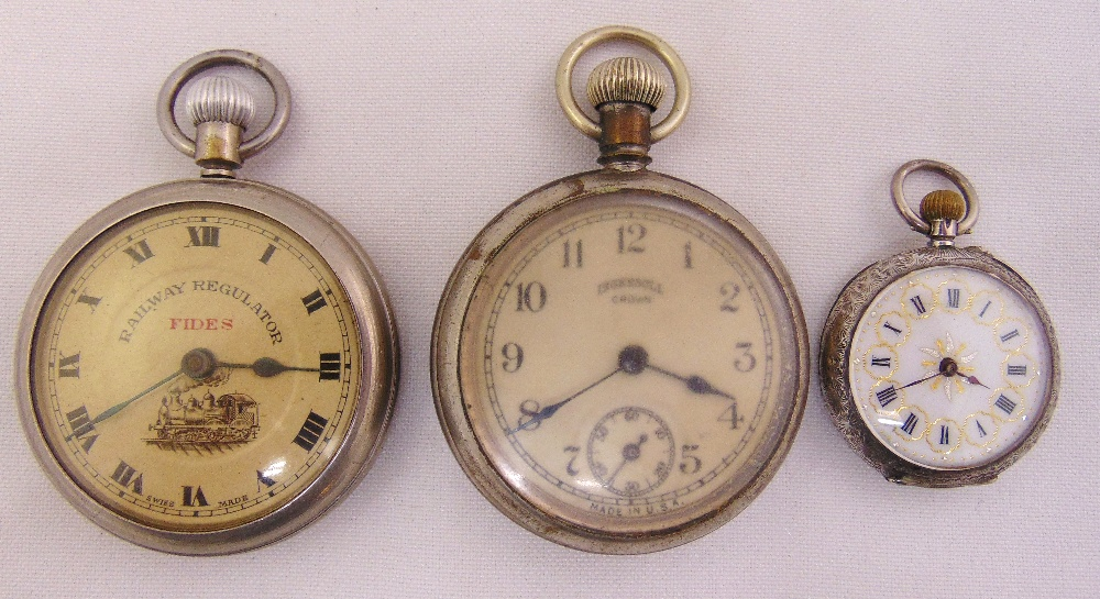 Three pocket watches to include a Fides Railway Regulator, an Ingersoll Crown and a ladies silver