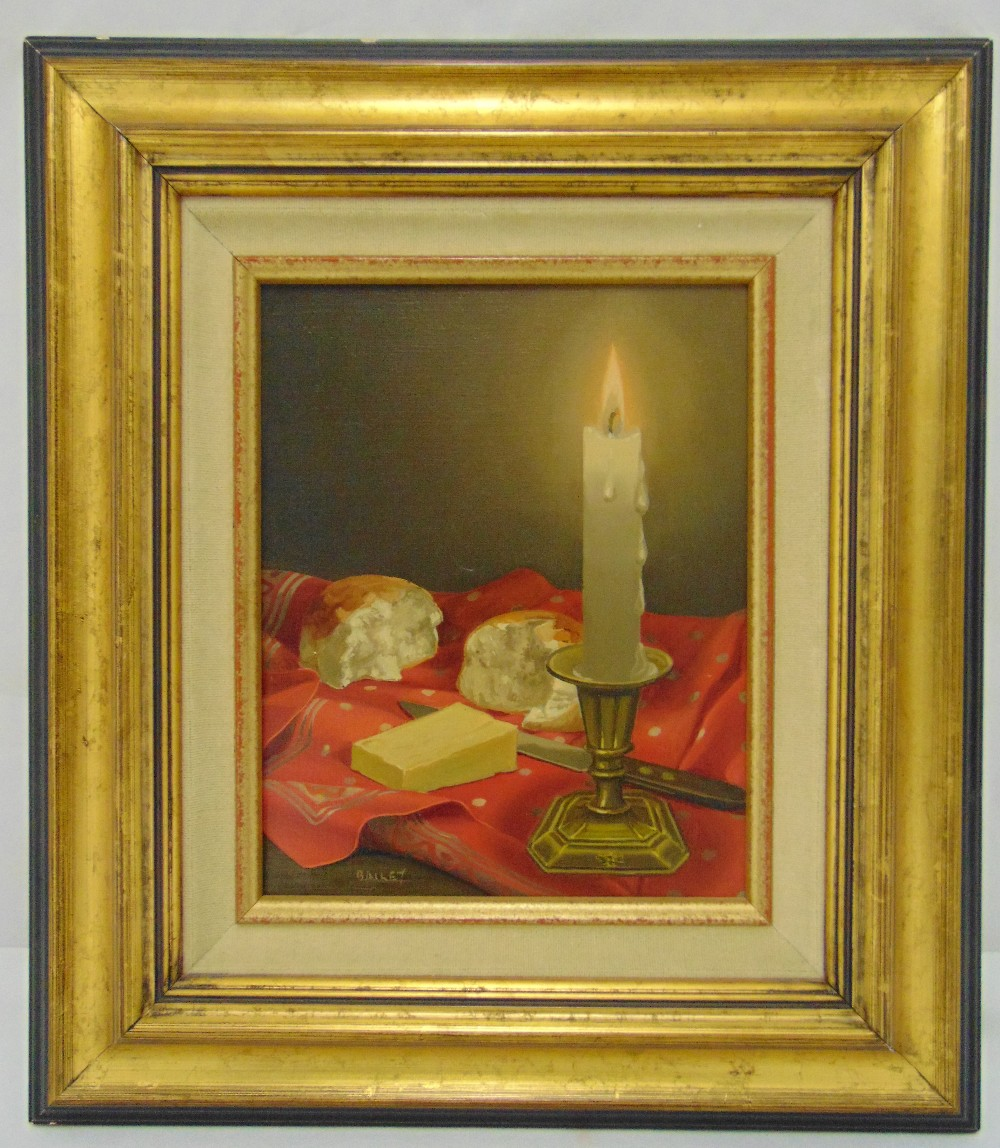 Bailey framed oil on canvas still life of a candle with bread and cheese, signed bottom left, 24 x