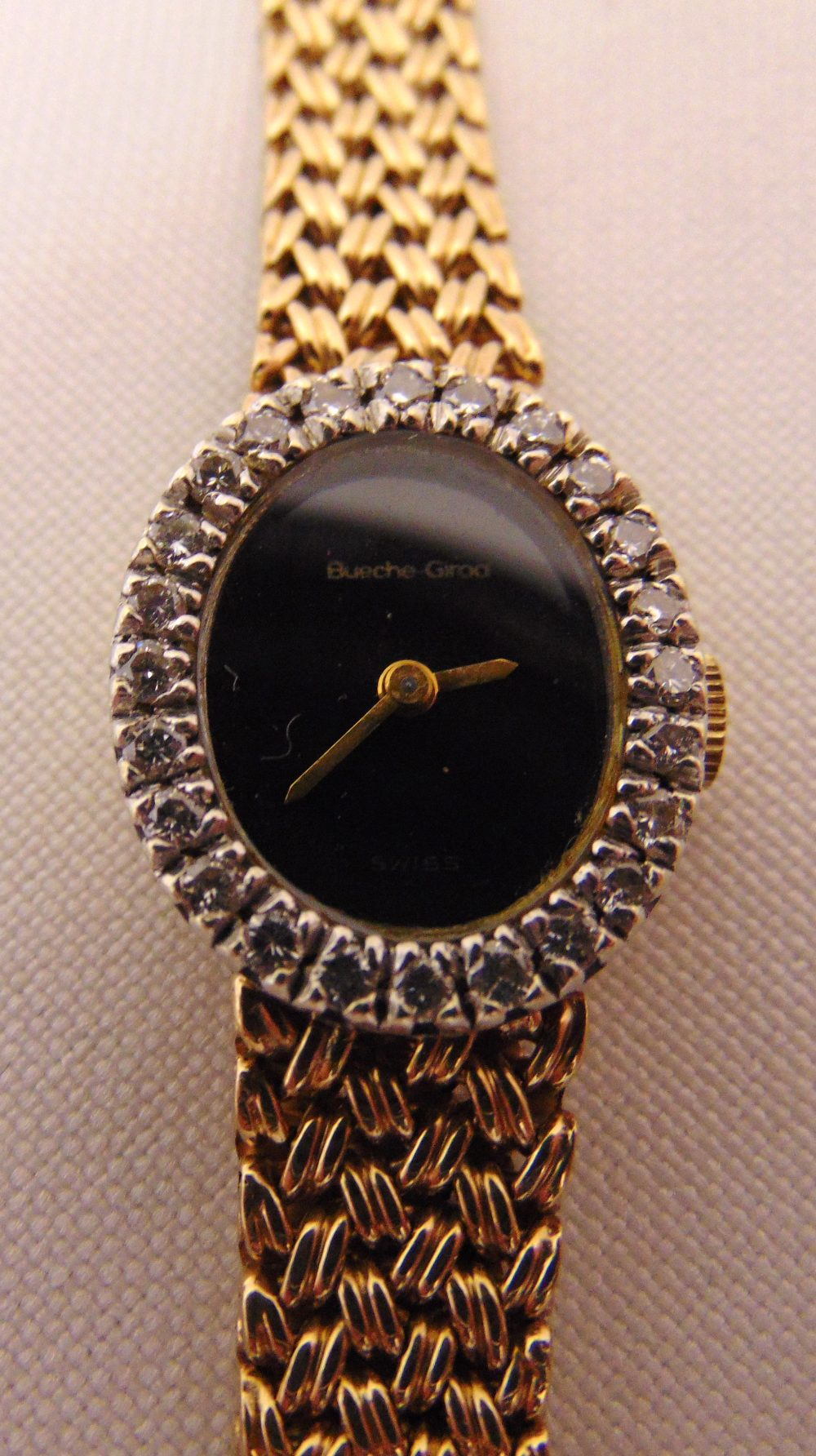 Bueche Girod 9ct gold ladies wristwatch with diamond bezel and integral 9ct gold bracelet, approx - Image 2 of 2