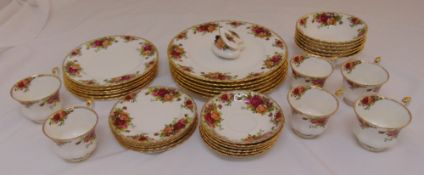 Royal Albert Old Country Roses dinner and tea service for six place settings to include plates,