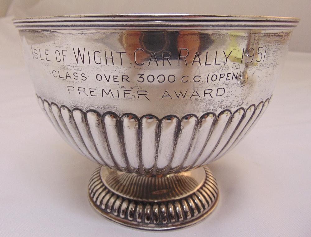 A Victorian hallmarked silver rose bowl engraved Isle of Wight Car Rally 1951 part fluted, London - Image 2 of 3