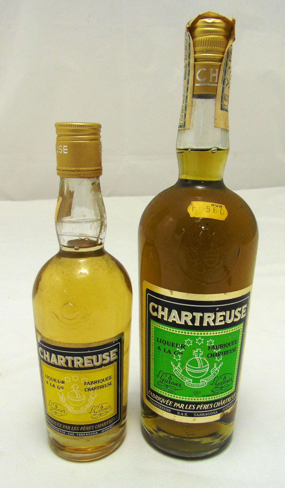 L. Garnier Chartreuse Green label 55 proof, 70 cl and Yellow label 35cl