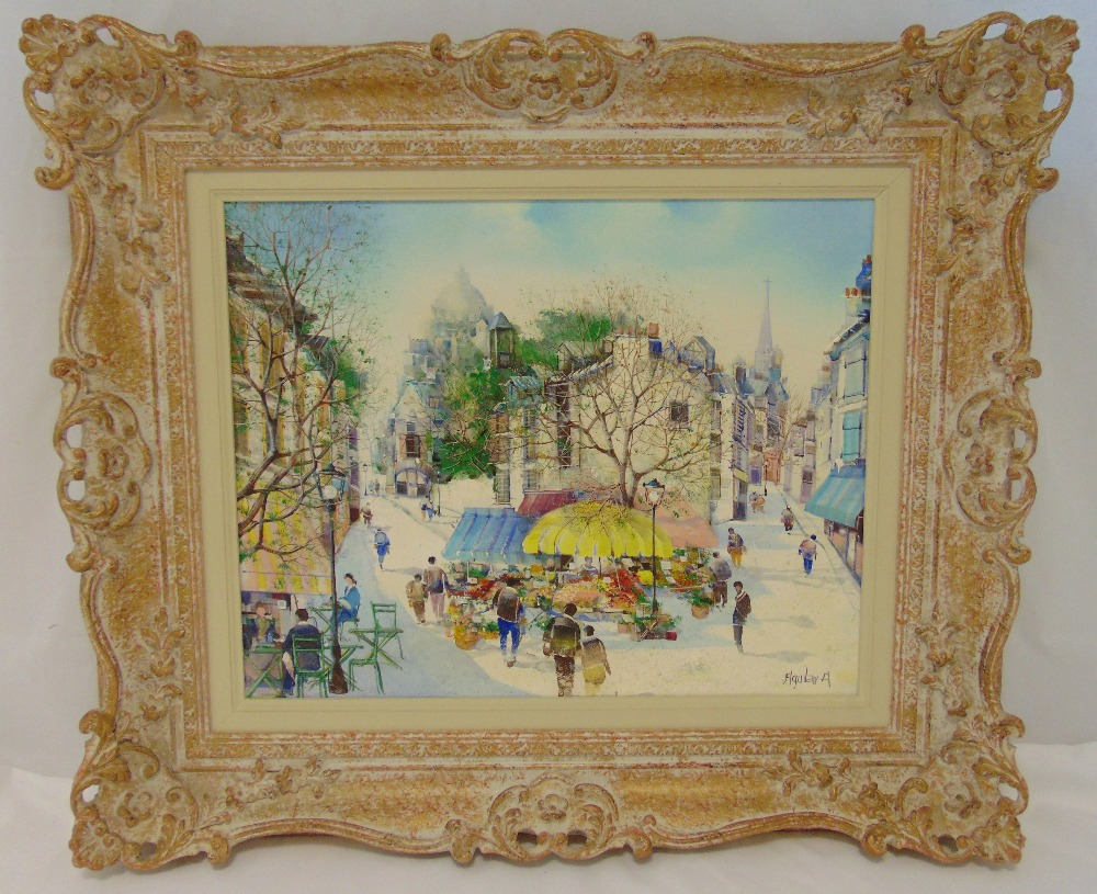 Aquilar a framed oil on canvas of a continental street scene, signed bottom right, 39 x 49cm