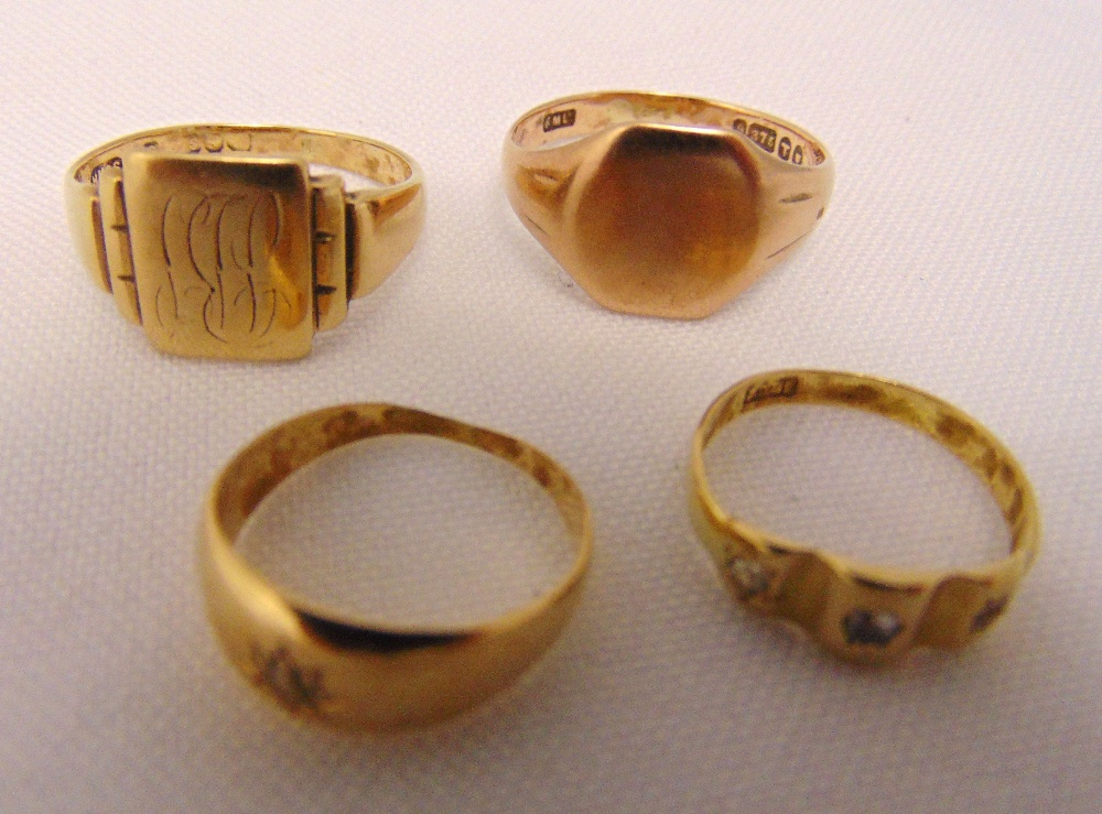 Four 9ct gold rings, approx total weight 11.6g