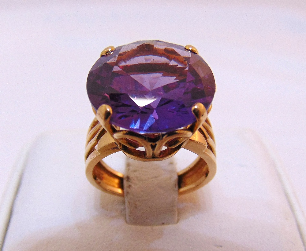 Yellow gold and Alexanderite cocktail ring, gold tested 18ct, approx total weight 8.2g