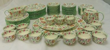 Minton Haddon Hall dinner and tea service to include plates, bowls, cups, saucers, a teapot and oval