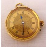 14ct gold open face pocket watch with Roman numerals to the engine turned dial, approx total