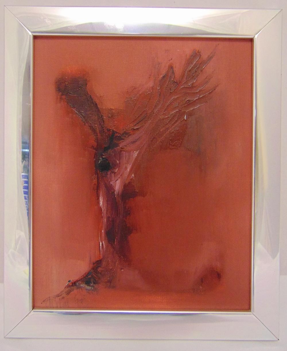 Gerald Davis framed oil on panel abstract, signed bottom left, 24.5 x 19.5cm