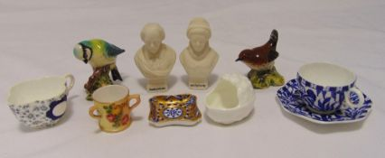 A quantity of porcelain and ceramics to include Royal Worcester and Coalport miniatures, two Beswick