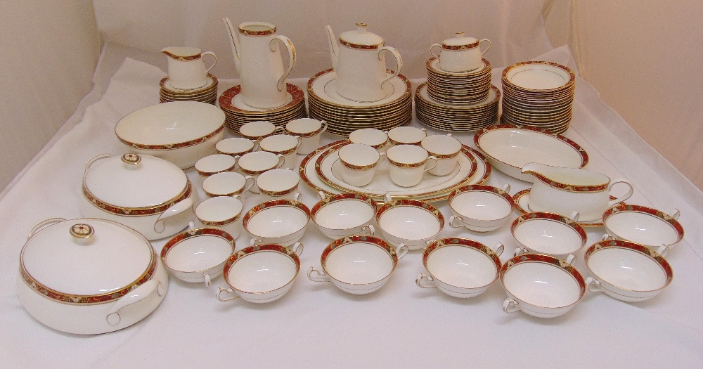 Royal Crown Derby Cloisonné' A1317 dinner and tea set to include plates, bowls, serving dishes,