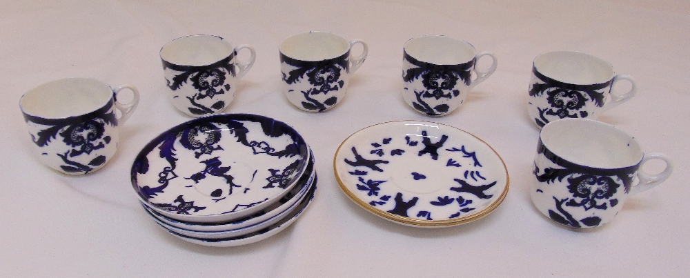 A quantity of blue and white porcelain cups and saucers to include Coalport
