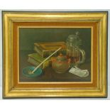 Bailey framed oil on canvas still life of a clay pipe, books and a stein of beer, signed bottom