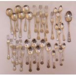 A quantity of silver plated Kings pattern flatware