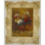 Byron framed oil on panel still life of flowers, signed bottom left, 29 x 21cm