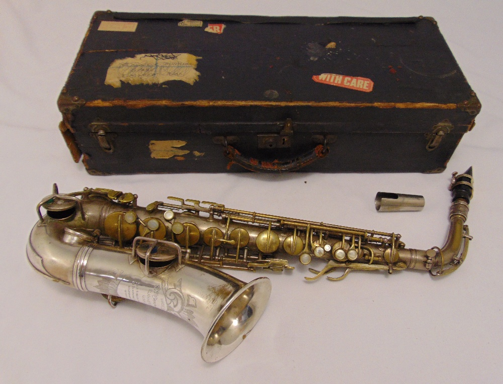 G.C. Conn Ltd Alton saxophone in fitted case Elkhart, Ind. USA. Sole English agents The Saxophone