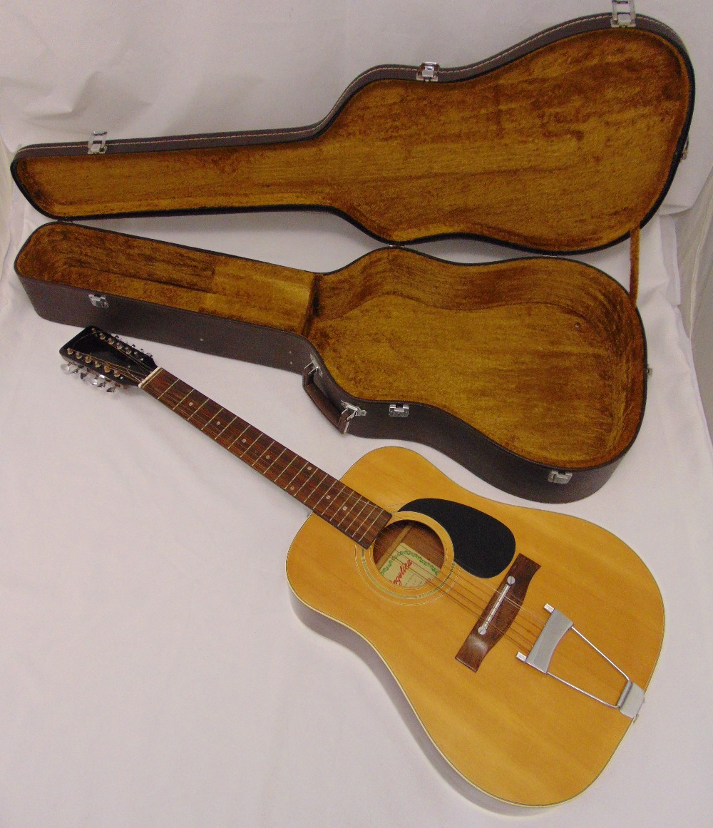Boosey and Hawkes Angelica twelve string acoustic guitar in fitted case, A/F