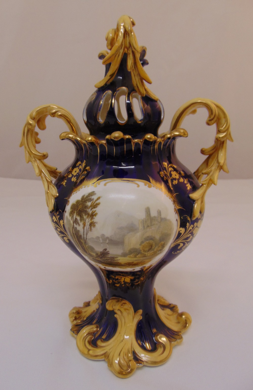 A 19th century Coalport pot pourri vase and cover decorated with panels of floral sprays, a romantic - Image 2 of 2
