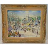 Aquilar a framed oil on canvas of a street scene with a flower seller in the foreground, signed