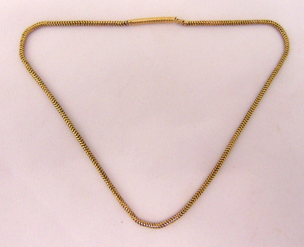 Gold snake link necklace, tested 18ct, approx weight 10.0g