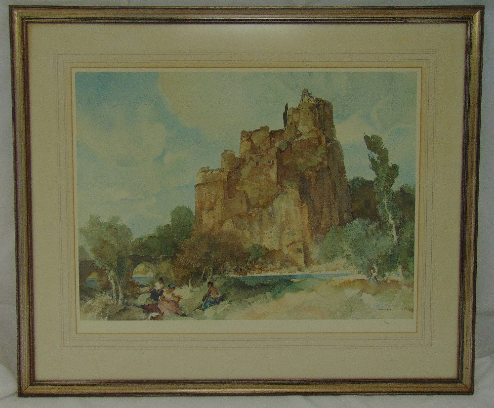 William Russell Flint framed and glazed polychromatic print titled Picnic at La Roche 114/850, 69.