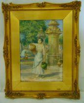 Arthur Trevor Haddon framed and glazed watercolour of a female water carrier, signed bottom right,