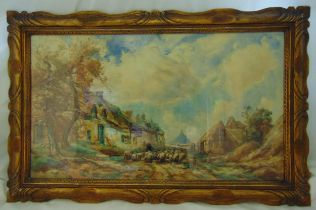TW Morley framed and glazed watercolour of a rural scene with sheep, signed bottom left, 50 x 88cm